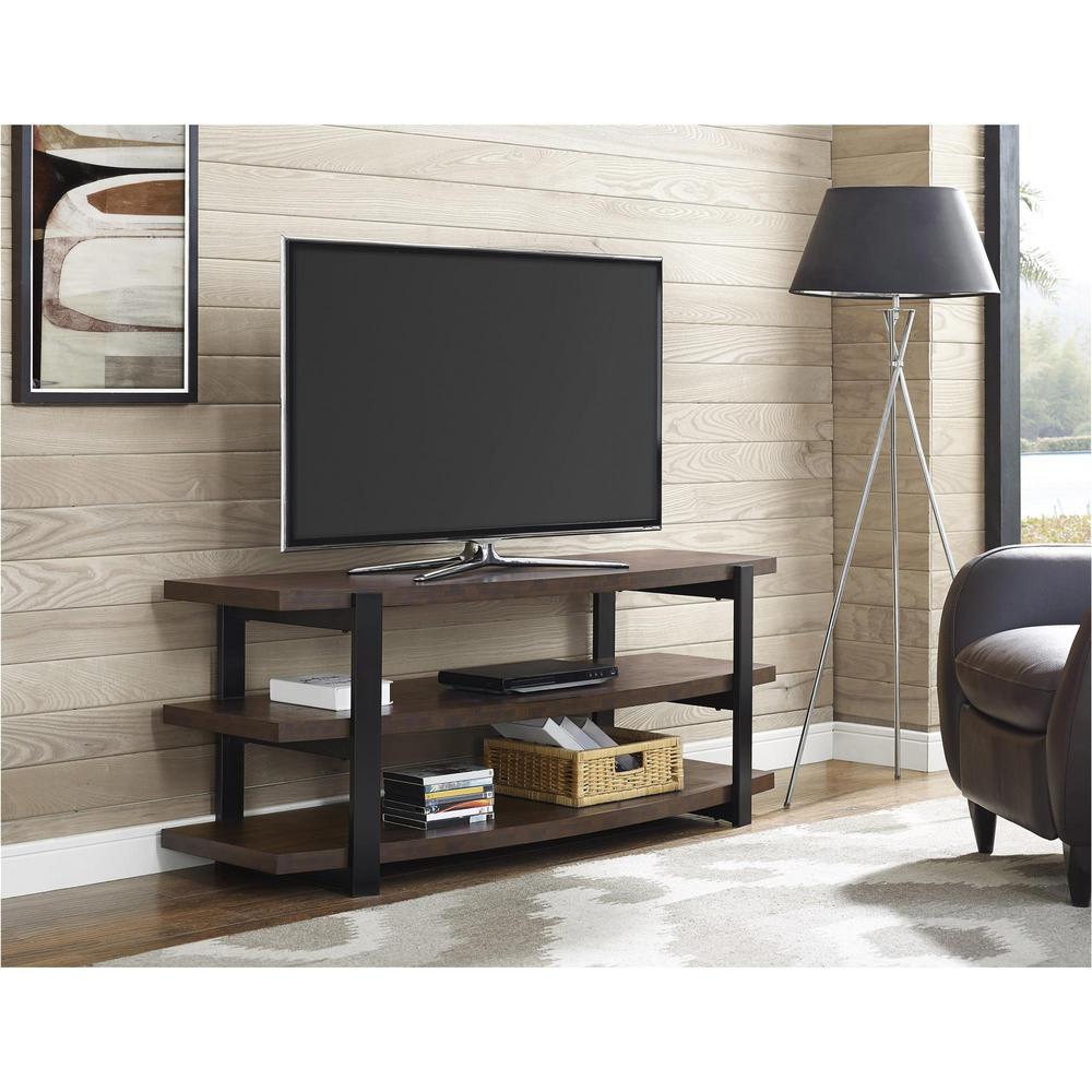 Ameriwood 70 in. Castling Espresso and Black TV Stand, Br...
