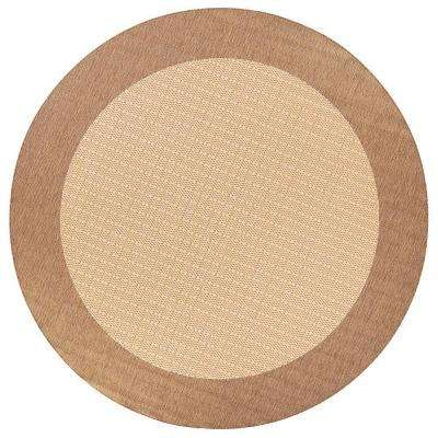 Checkered Field Natural 9 ft. Round Area Rug