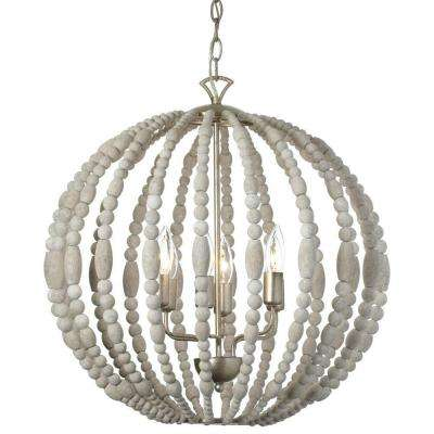 Laura 6-Light White Washed Chandelier
