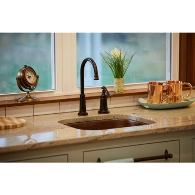 Sisley Pro All-in-One Undermount 18.5 in. Single Bowl Copper Prep Kitchen Sink with Pfister Faucet and Drain