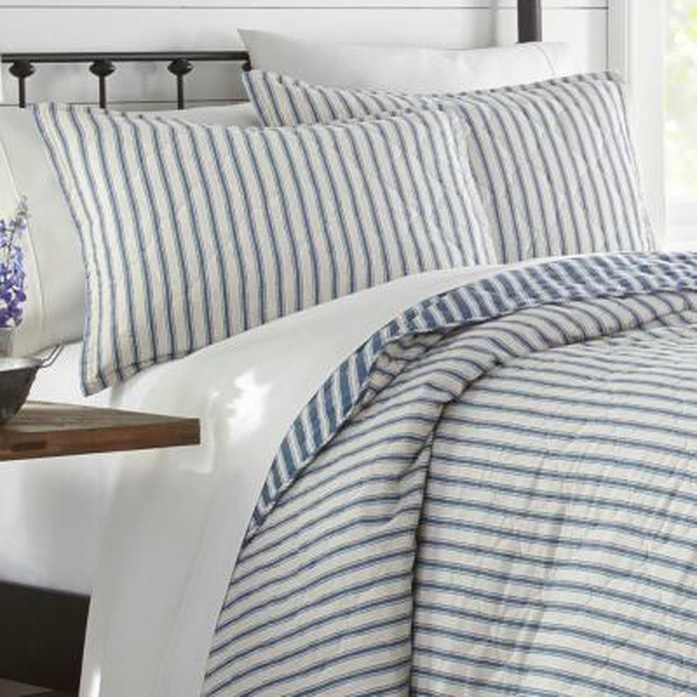 Willow Way Ticking Stripe Cotton Quilt Set