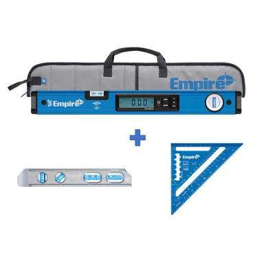 24 in. Digital Box Level with Case and 8 in. Magnetic Torpedo Level and Rafter Square in True Blue