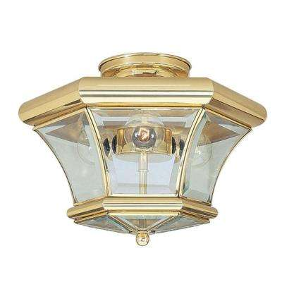 Providence 3-Light Ceiling Polished Brass Incandescent Semi Flush Mount