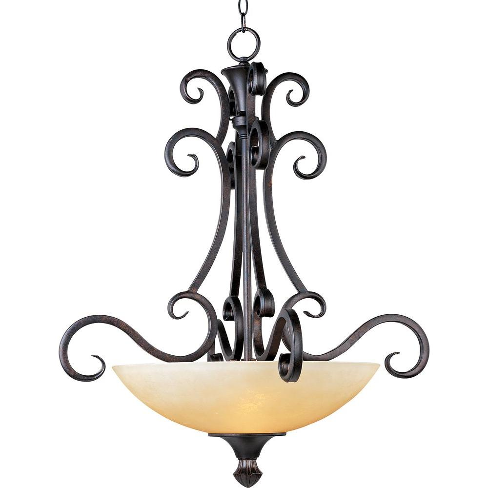 Oriax Infinite 4-Light Colonial Umber Invert Bowl Pendant with Burnished Lichen Glass Shade-DISCONTINUED