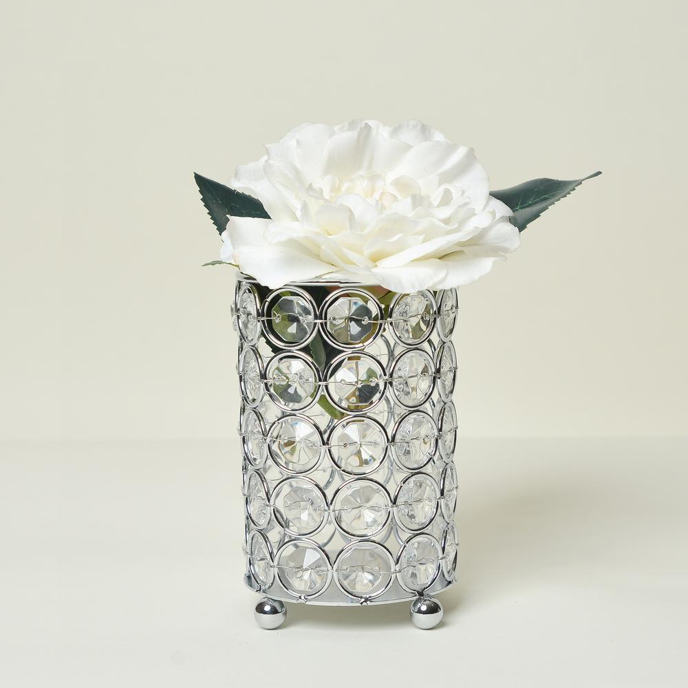 Elegant Designs 5 In Chrome Elipse Crystal Decorative Flower Vase Candle Holder Wedding Centerpiece Hg1001 Chr The Home Depot