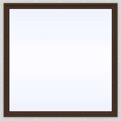 47.5 in. x 47.5 in. V-2500 Series Brown Painted Vinyl Picture Window w/ Low-E 366 Glass