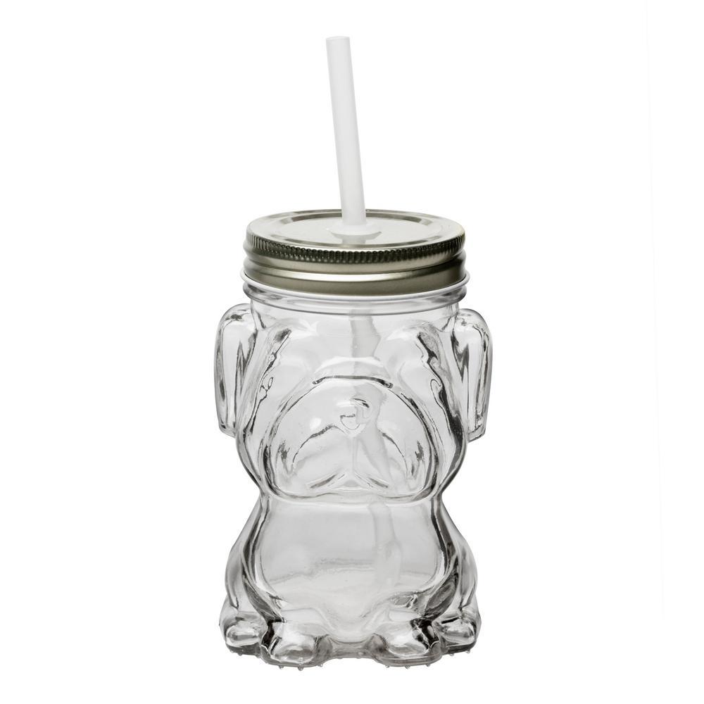 Mad Dog 4-Piece Clear Glass Mason Jar Drinkware Set with Silver Lid
