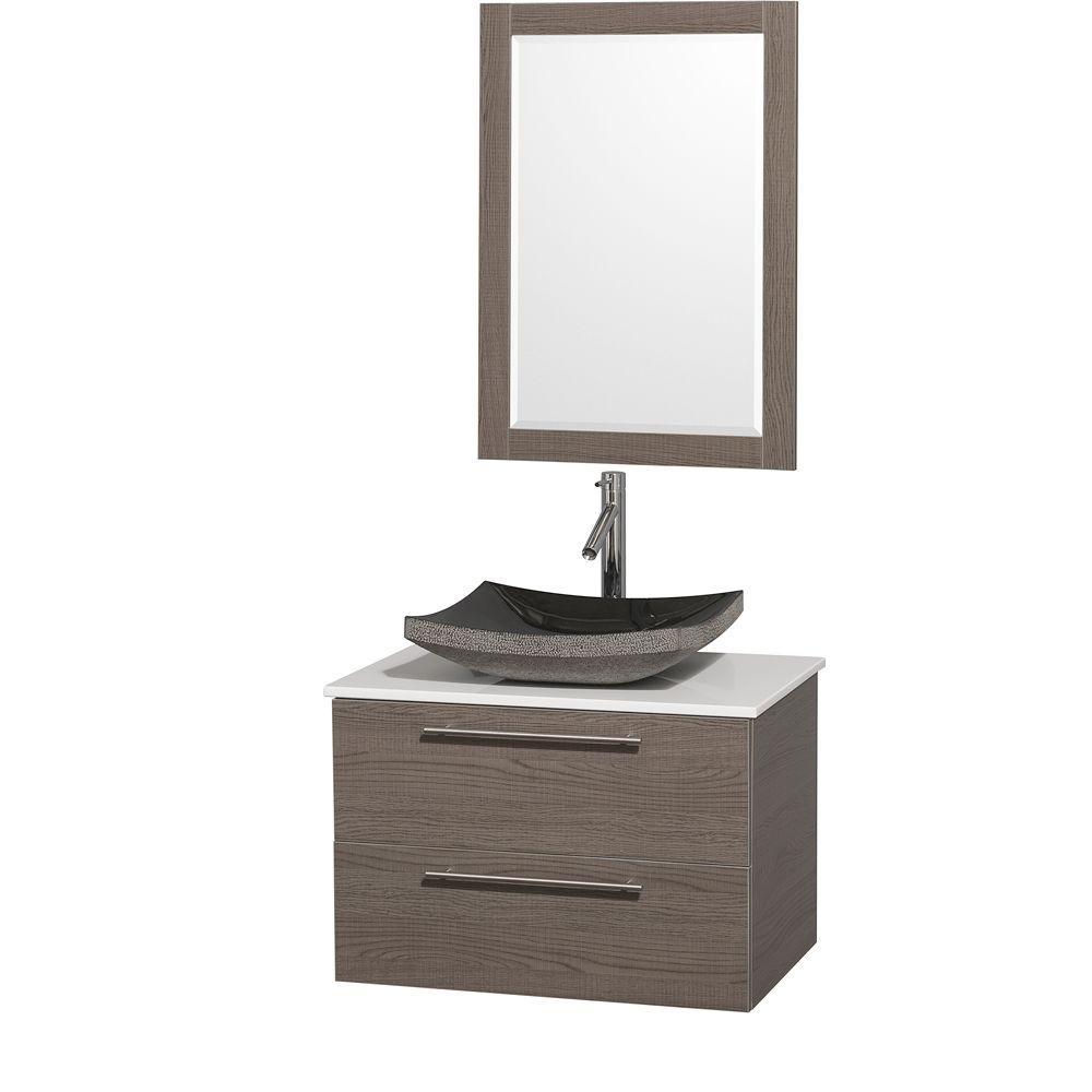 Amare 30 in. Vanity in Grey Oak with Man-Made Stone Vanity Top in White and Black Granite Sink