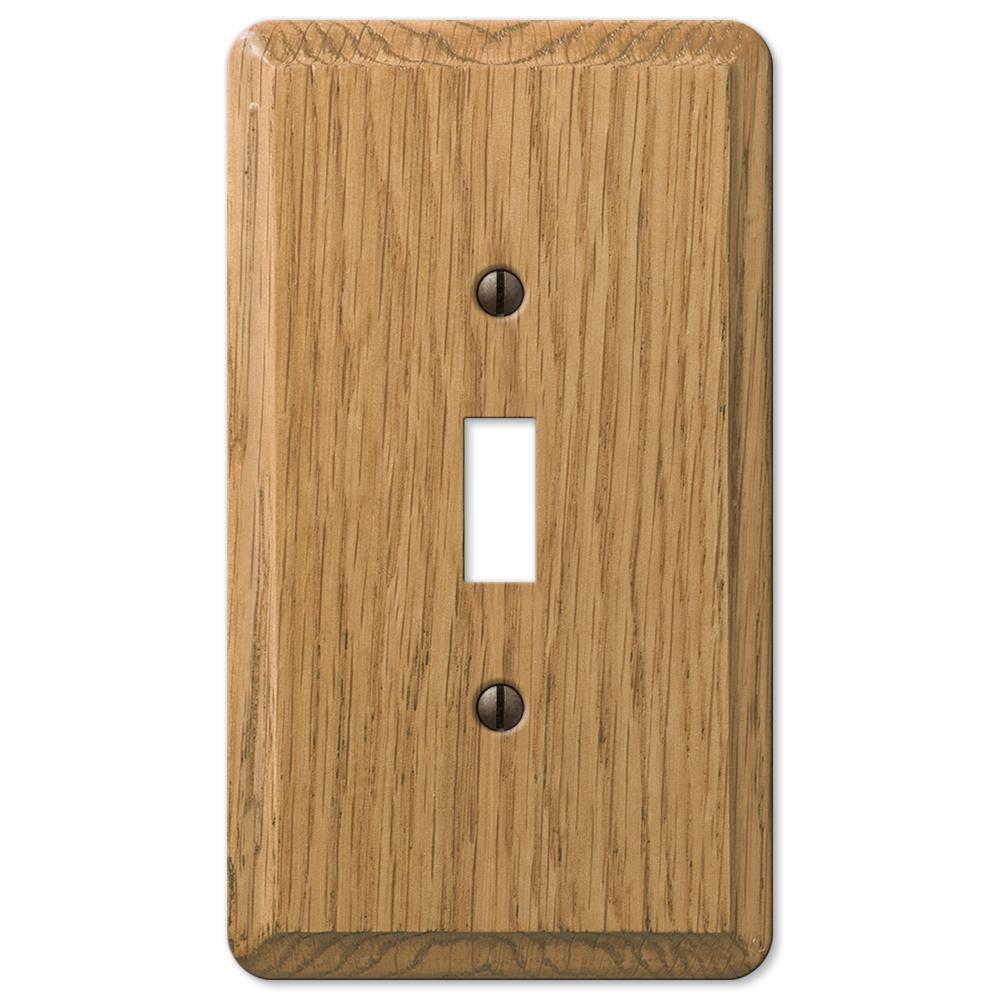 Contemporary 1 Gang Toggle Wood Wall Plate - Light Oak
