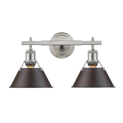 Orwell PW 2-Light Pewter Bath Light with Rubbed Bronze Shade
