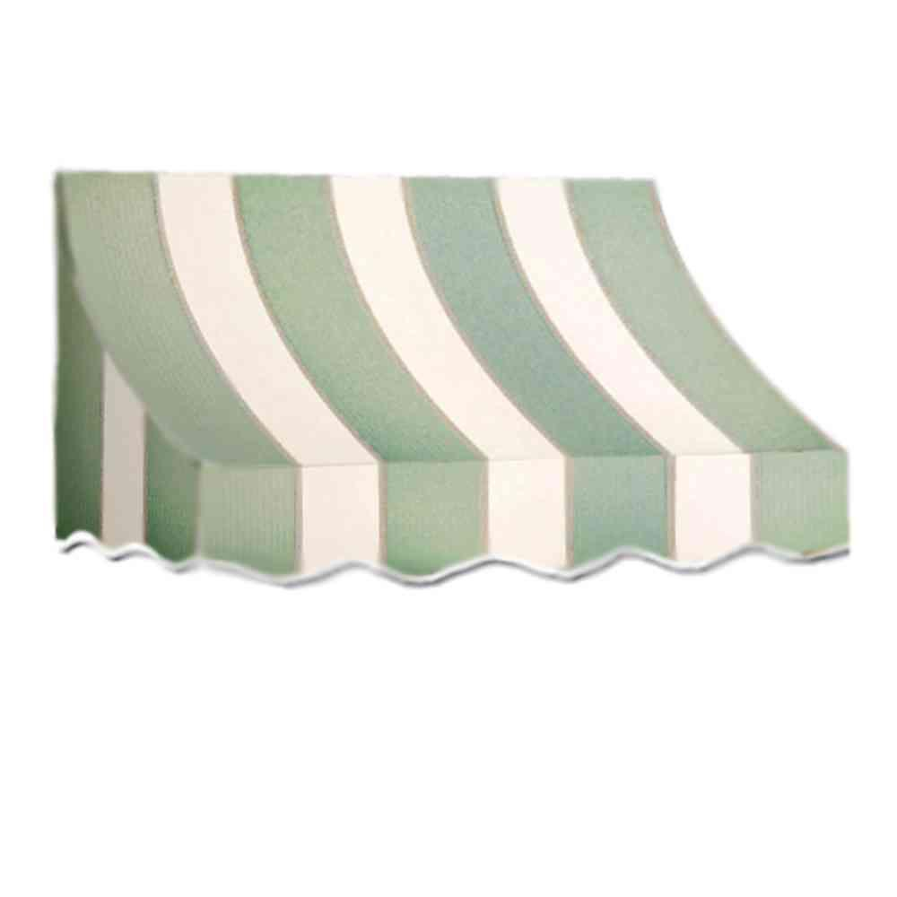 AWNTECH 12 ft. Nantucket Window/Entry Awning (56 in. H x 48 in. D) in Sage/Linen/Cream Stripe