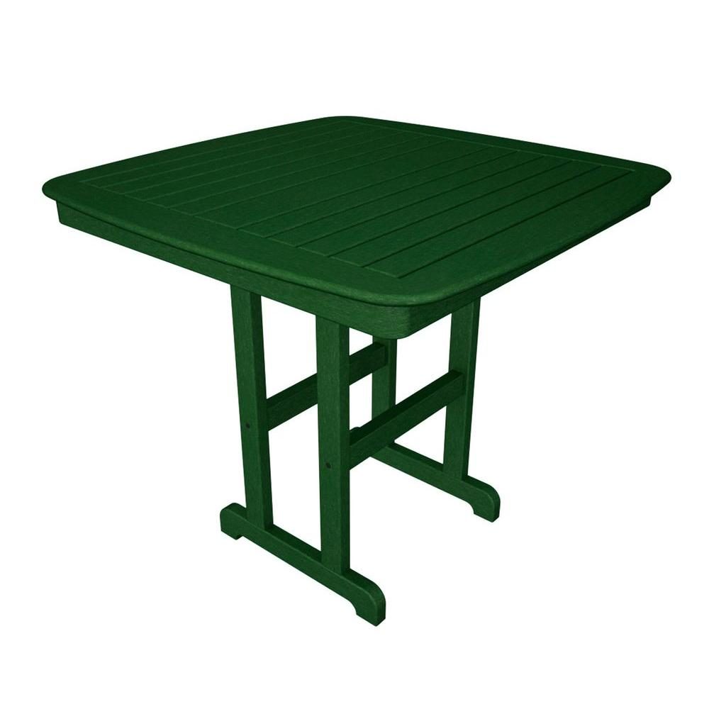 POLYWOOD Nautical 44 in. Green Plastic Outdoor Patio Counter Table