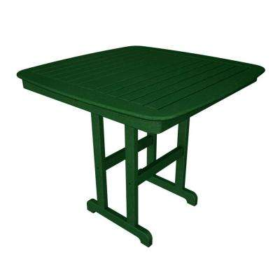 Nautical 44 in. Green Plastic Outdoor Patio Counter Table