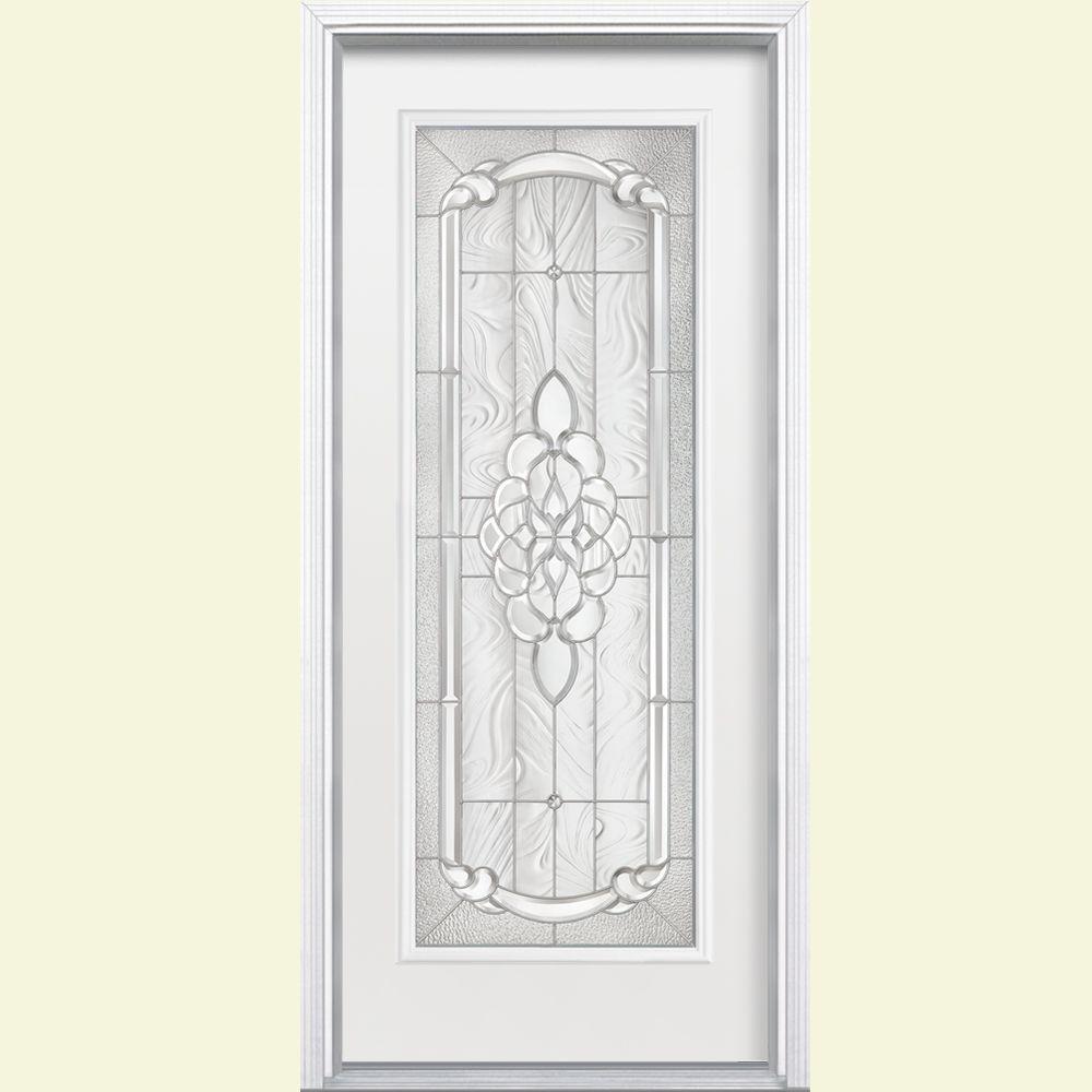 Masonite 36 in. x 80 in. Oakville Full Lite Right Hand Primed White Smooth Fiberglass Prehung Front Door w/ Brickmold