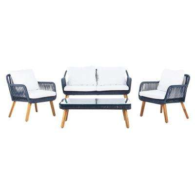 Aldric Navy 4-Piece Wood Patio Conversation Set with White Cushions