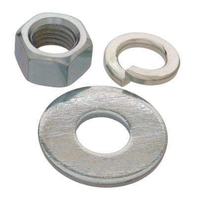 1/2 in. Zinc-Plated Nuts, Washer and Lock Washer (6-Piece per Pack)