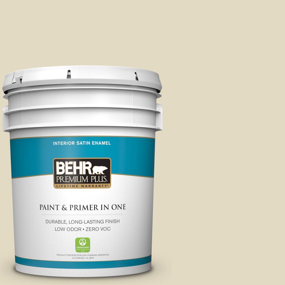 BEHR Premium Plus 5-gal. #770C-2 Belvedere Cream Zero VOC Satin Enamel Interior Paint