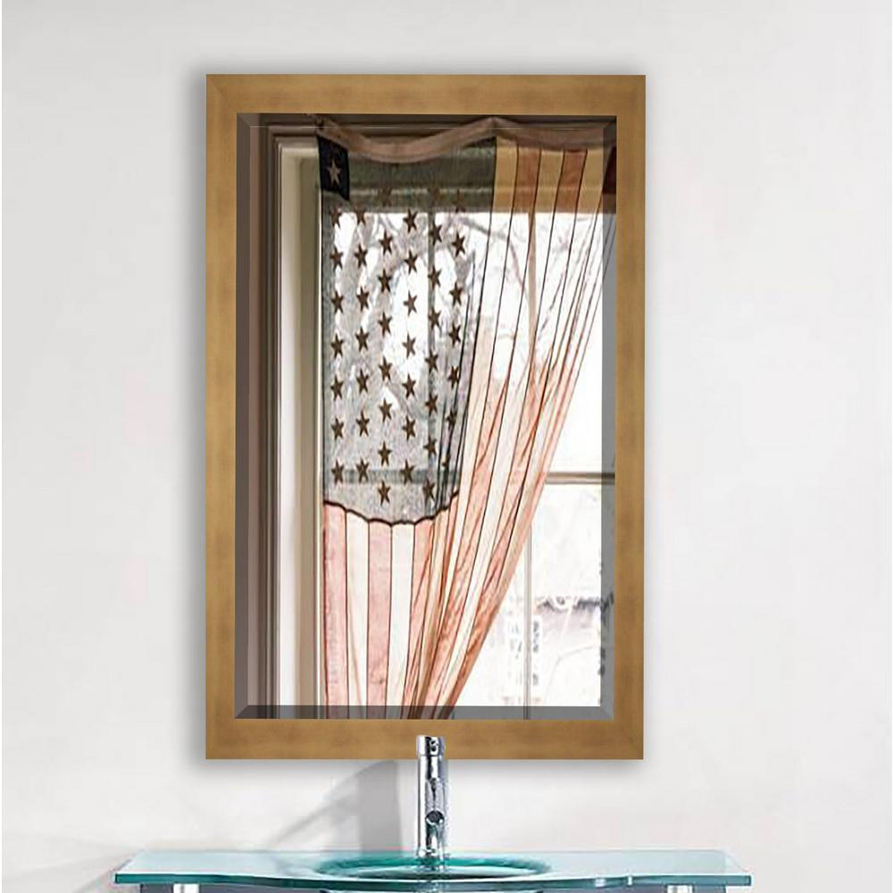 32.5 in. x 26.5 in. Hushed Golden Sunset Beveled Mirror