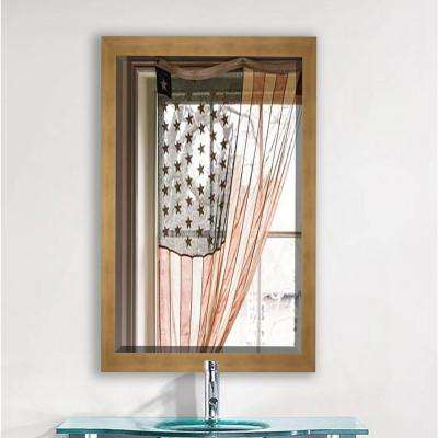 37.5 in. x 33.5 in. Hushed Golden Sunset Beveled Mirror