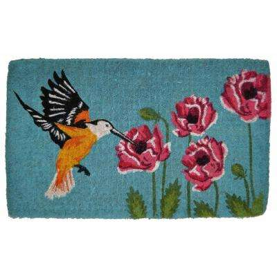 Traditional Coir Mat, Hummingbird, 30 in. x 18 in. Natural Coconut Husk Doormat