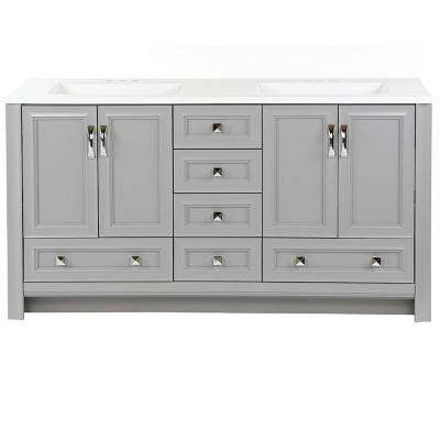 Candlesby 60.25 in. W x 18.87 in. D Bath Vanity in Sterling Gray with Cultured Marble Vanity Top in White w/ White Basin