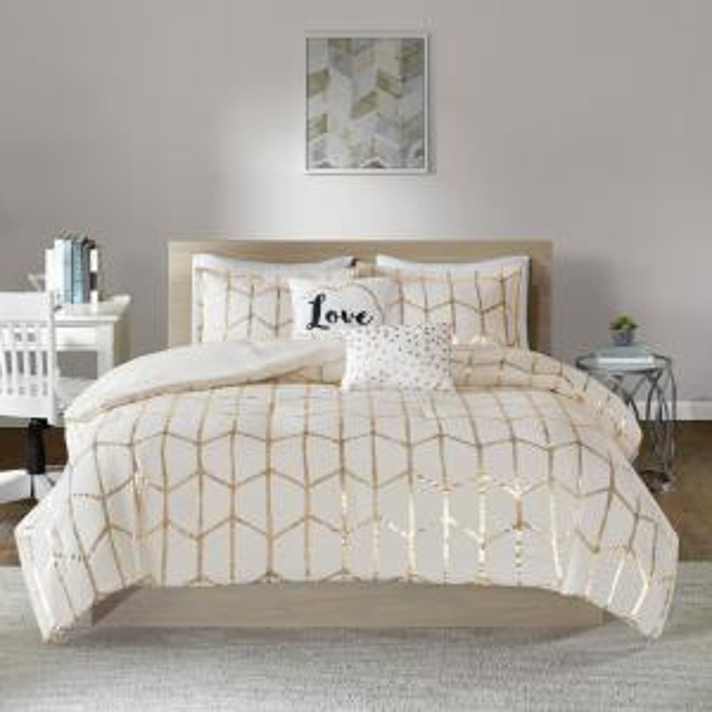 Khloe 5-Piece Ivory/Gold Full/Queen Geometric Comforter Set