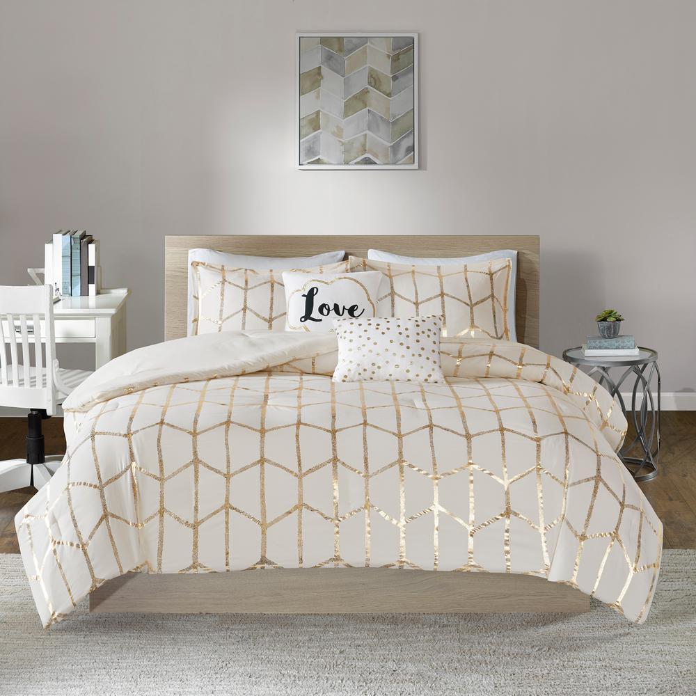 Khloe 5-Piece Ivory/Gold King/California King Geometric Comforter Set