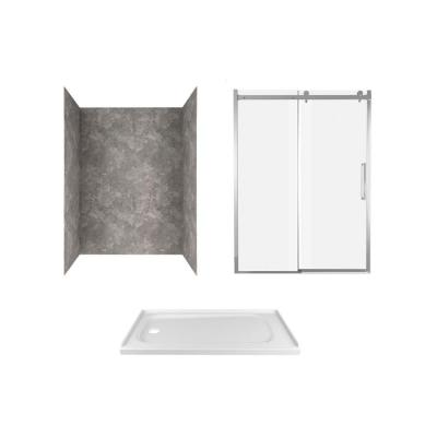 Passage 60 in. x 72 in. 3-Piece Glue-Up Alcove Shower Wall, Door and Base Kit with Left Drain in Gray Concrete