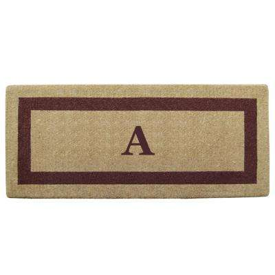 Single Picture Frame Brown 24 in. x 57 in. Heavy Duty Coir Monogrammed A Door Mat