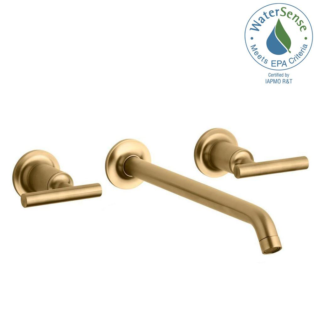KOHLER Purist Wall-Mount 2-Handle Bathroom Faucet Trim Kit in Brushed Gold (Valve Not Included)