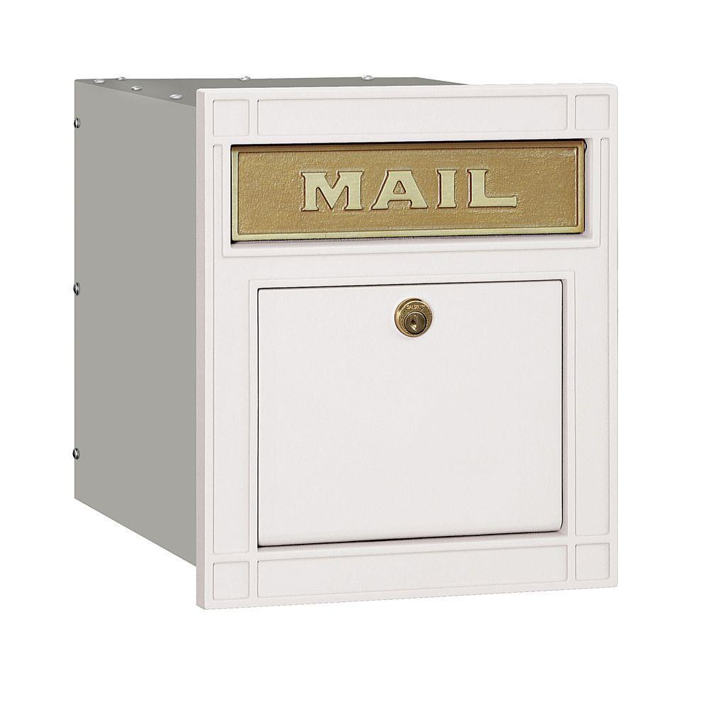 4100 Series 11.5 in. W x 13.25 in. H x 15.75 in. D White Locking Plain Door Cast Aluminum Column Mailbox