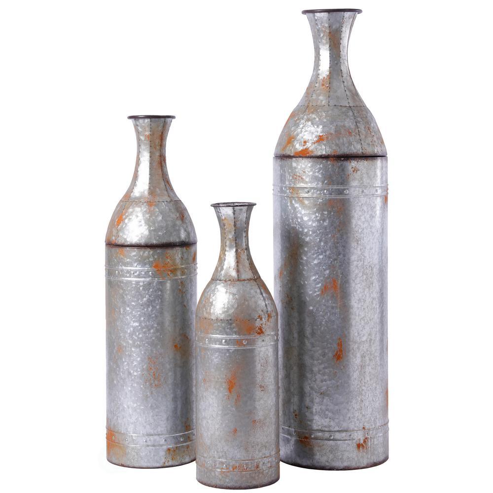 Rustic Farmhouse Style Galvanized Metal Floor Vase Decoration, Set of 3