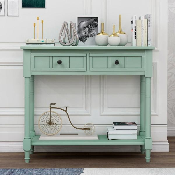 Blue Daisy Series Console Table with Two Drawers and Bottom Shelf