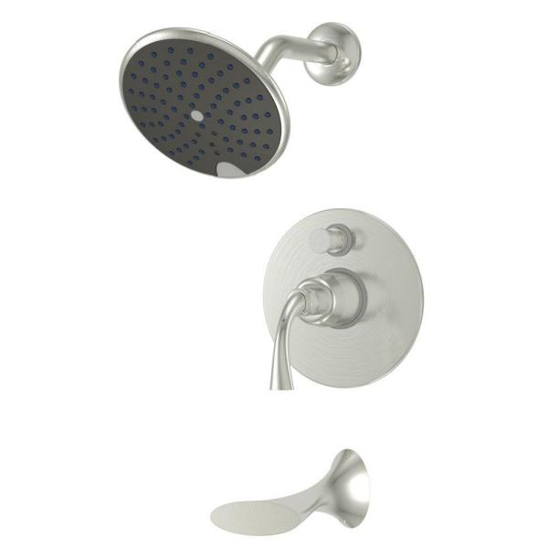 Adelais Single-Handle 1-Spray Tub and Shower Faucet in Brushed Nickel (Valve Included)