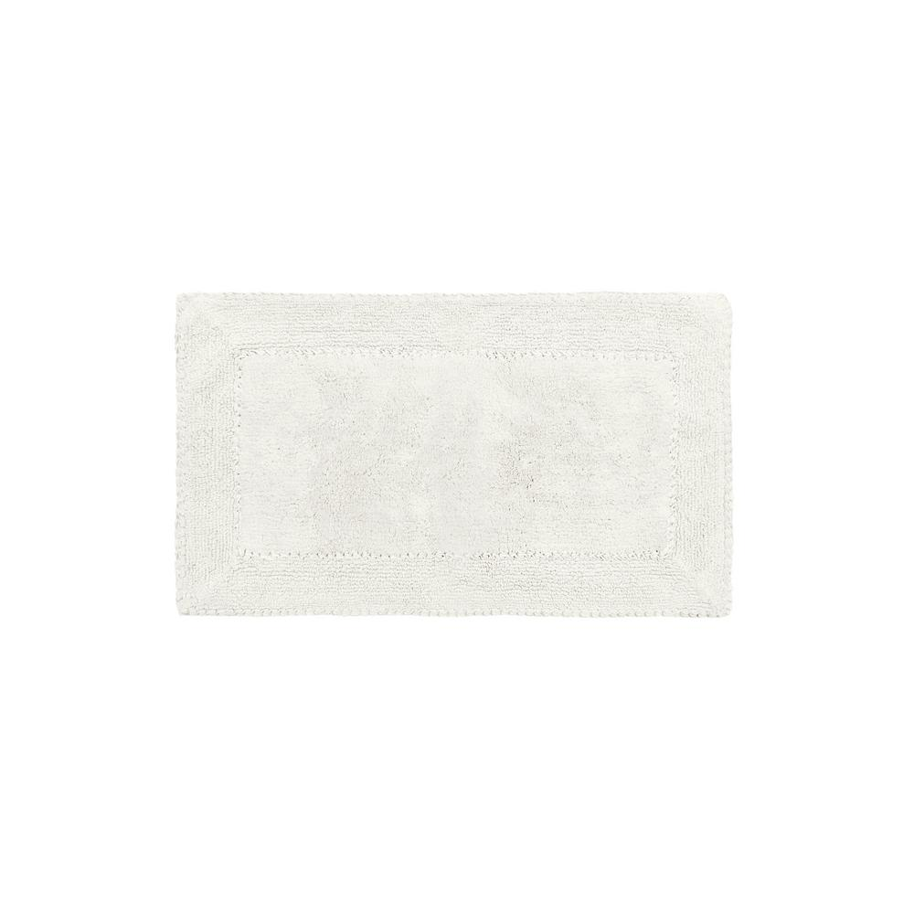 20 in. x 34 in. White Cotton Ruffle Bath Rug