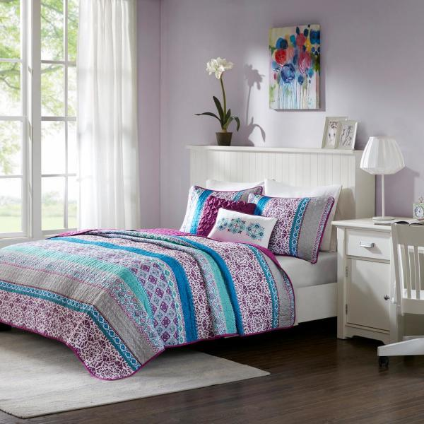 Intelligent Design Adley 5-Piece Purple Full/Queen Boho Coverlet Set ID13-1101
