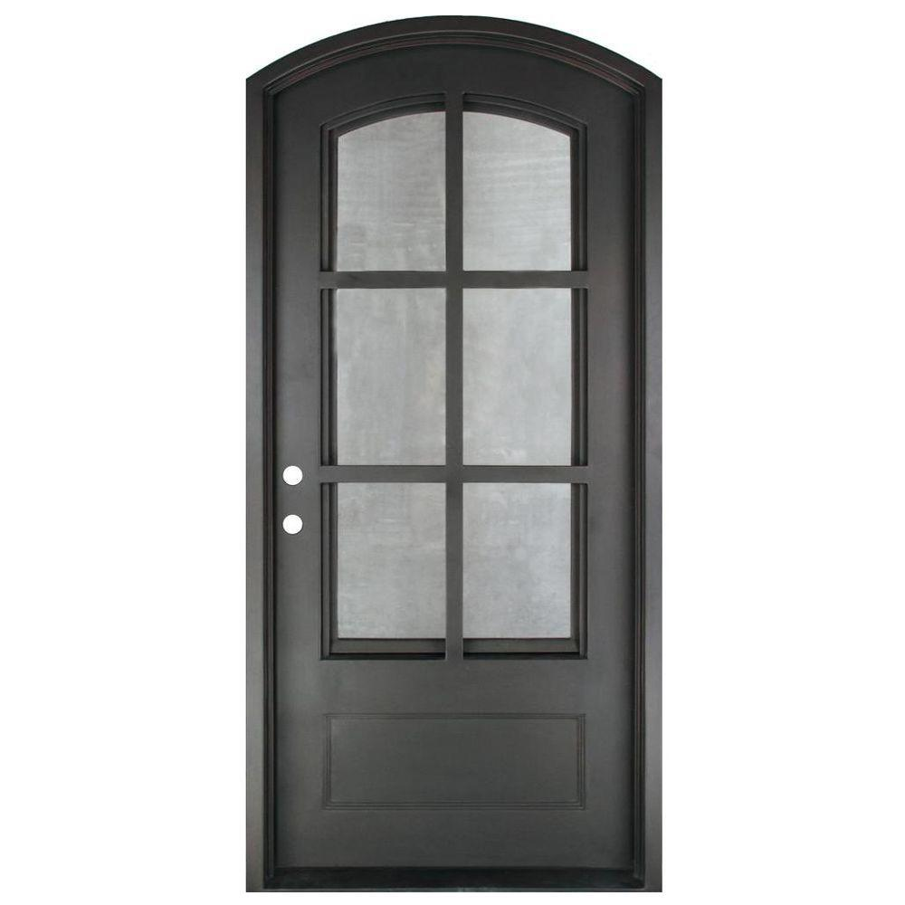 Iron Doors Unlimited 46 in. x 97.5 in. Craftsman Classic 6 Lite Painted Oil Rubbed Bronze Clear Wrought Iron Prehung Front Door