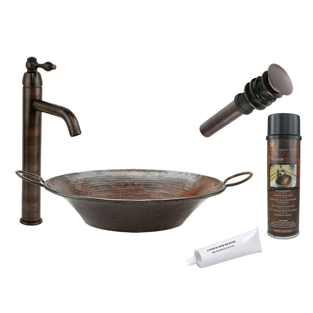 Premier Copper Products All-in-One Round Miners Pan Vessel Hammered Copper Bathroom Sink in Oil Rubbed Bronze