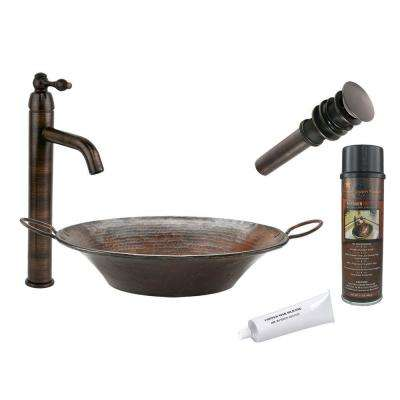 All-in-One Round Miners Pan Vessel Hammered Copper Bathroom Sink in Oil Rubbed Bronze