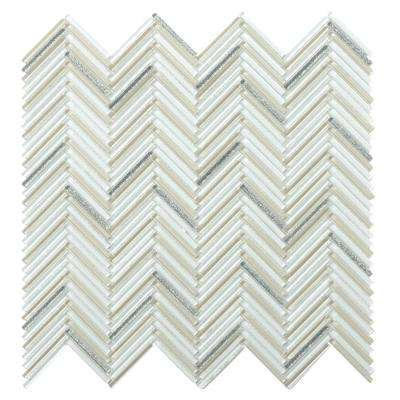 Pivot Curve Glossy 11.06 in. x 11.81 in. x 10mm Glass Mesh-Mounted Mosaic Tile