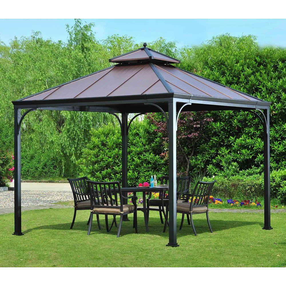 Superbe Hampton Bay Harper 10 Ft. X 10 Ft. Steel Hardtop Gazebo L GZ680PST M   The Home  Depot