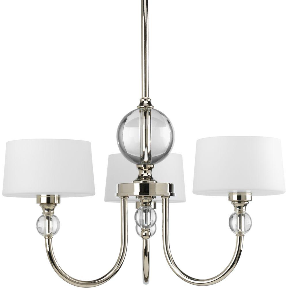 Progress Lighting Fortune Collection 3 Light Polished Nickel Chandelier With Opal Etched Glass Shade P4673 104 The Home Depot