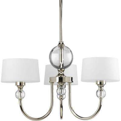 Fortune Collection 3-Light Polished Nickel Chandelier with Opal Etched Glass Shade