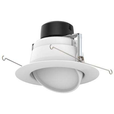 6 in. White Integrated LED Recessed Ceiling Light Fixture Adjustable Gimbal Retrofit Trim
