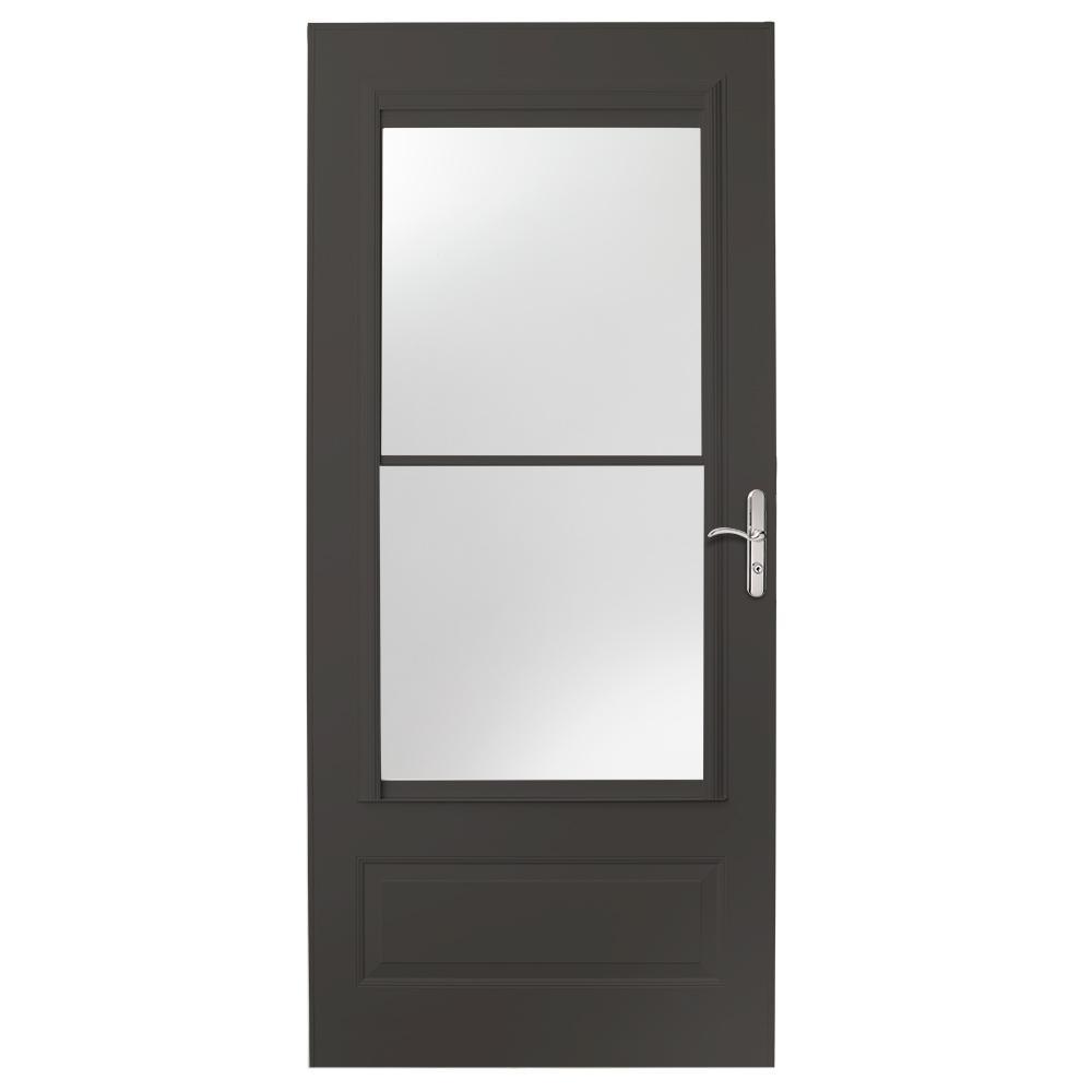 EMCO 32 in. x 80 in. 400 Series Bronze Universal Self-Storing Aluminum Storm Door with Nickel Hardware