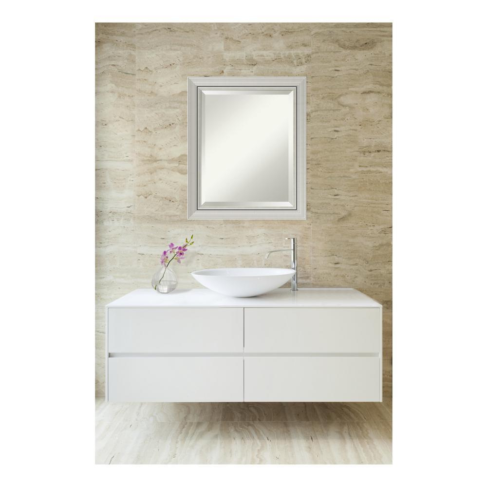 Romano Narrow Burnished Silver Wood 20 in. W x 24 in. H Single Contemporary Bathroom Vanity Mirror