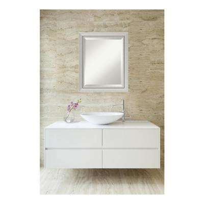 Romano Narrow Burnished Silver Wood 20 in. W x 24 in. H Single Contemporary Bathroom Vanity Mirror