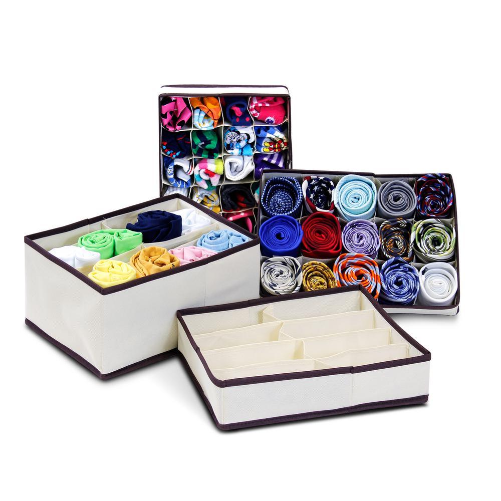 13 in. x 6.3 in. Fabric Storage Bin (4-Pack)