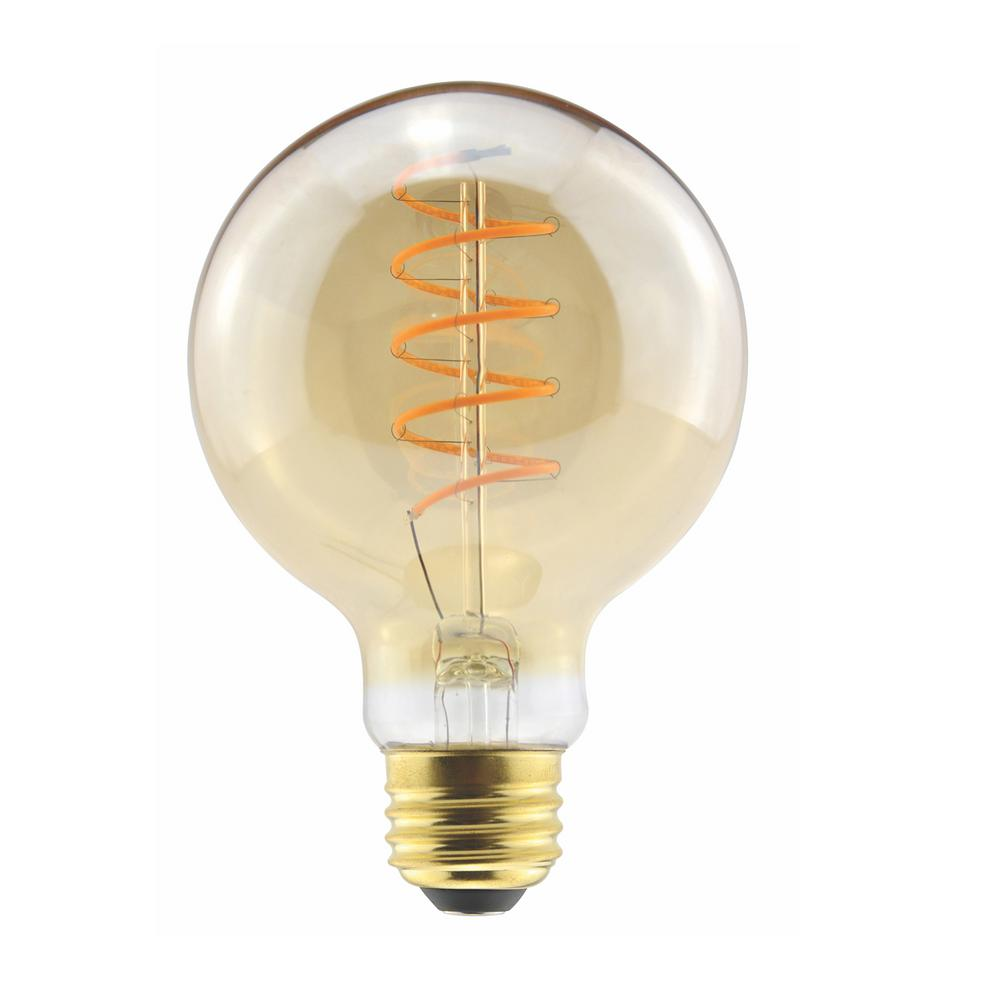 Halco Lighting Technologies 40 Watt Equivalent 6 G25 Dimmable Led Amber Globe Curved Filament Antique Vintage Light Bulb 2000k 85079