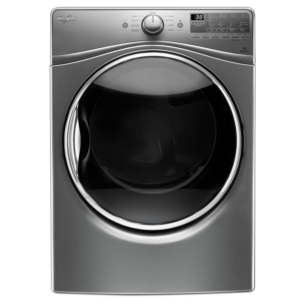 Whirlpool 7.4 cu. ft. 240 -Volt Stackable Chrome Shadow Electric Vented Dryer with Advanced Moisture Sensing, ENERGY STAR